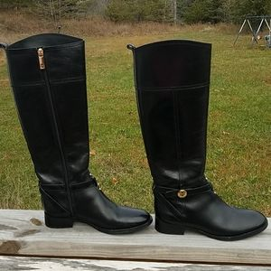 Tory Burch Leather Riding Boots black & gold